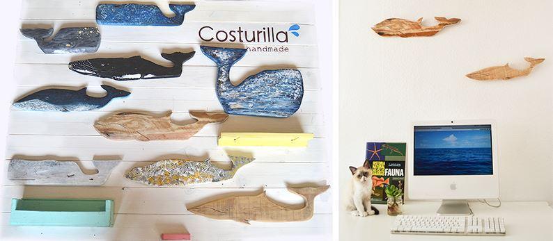 Ballenas de madera reciclada
