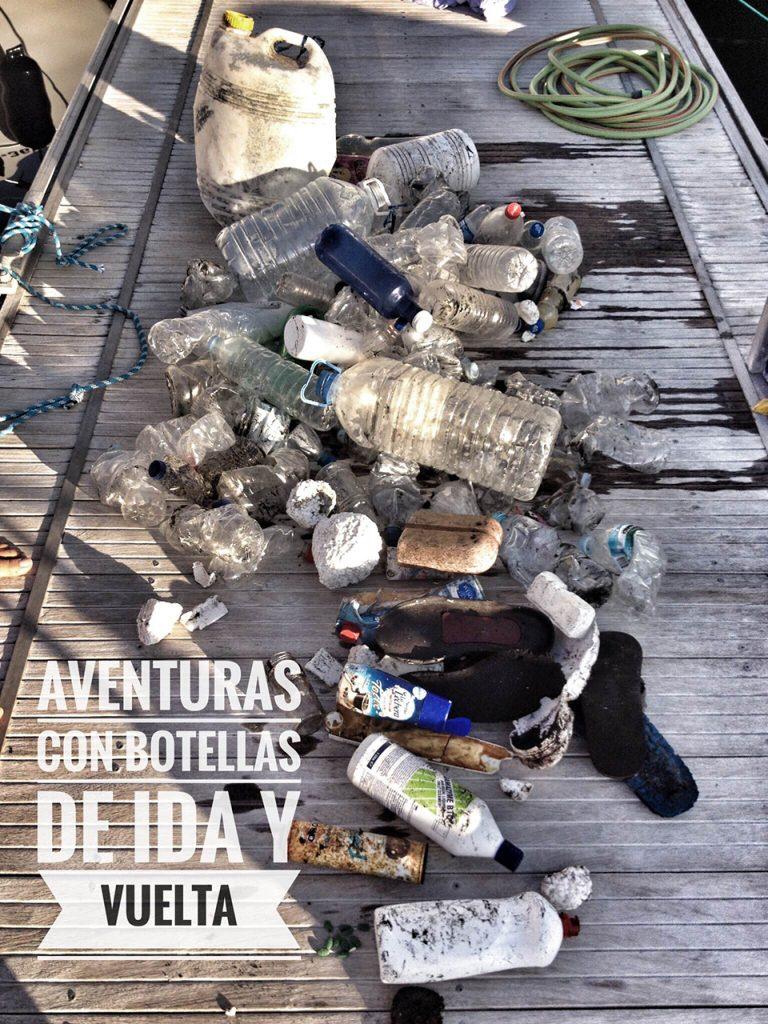 vacaciones sin plástico con niños, botellas de plástico recogidas en el mar