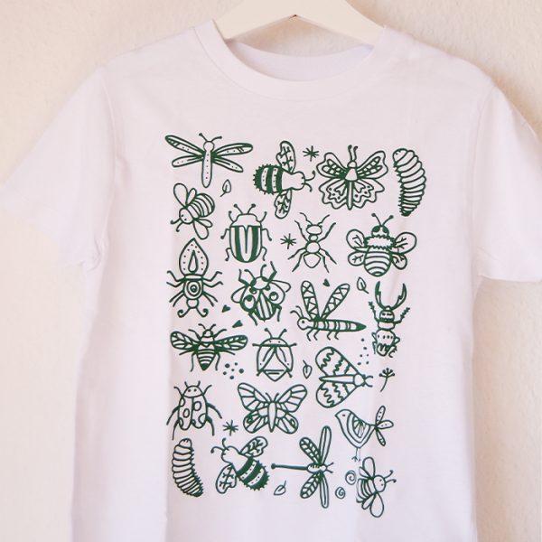 camiseta infantil para pintar insectos