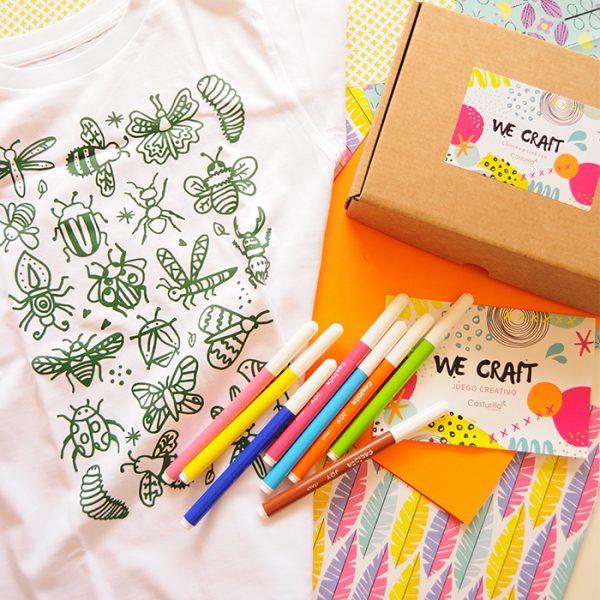 Camiseta colorerar caja con rotuladores