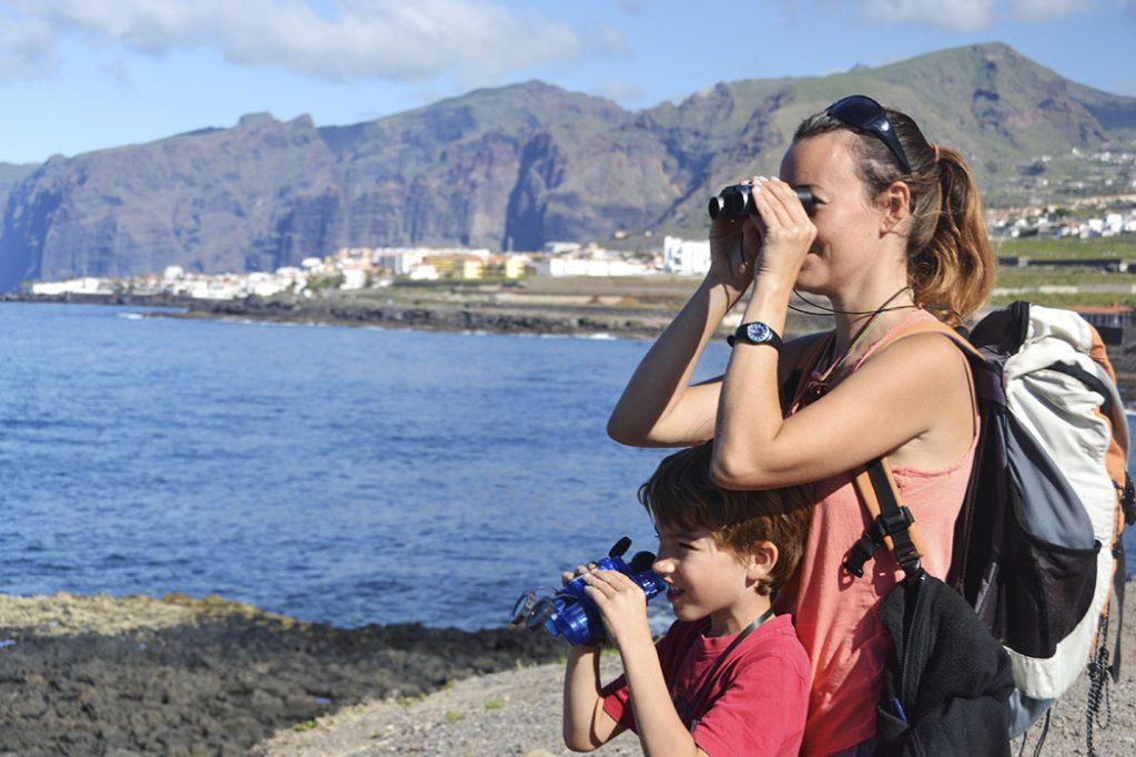 Avistando limícolas en sur de Tenerife con niños
