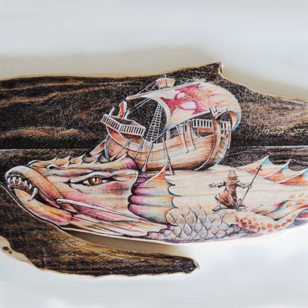 Detalle ilustración en cuerpo de ballena