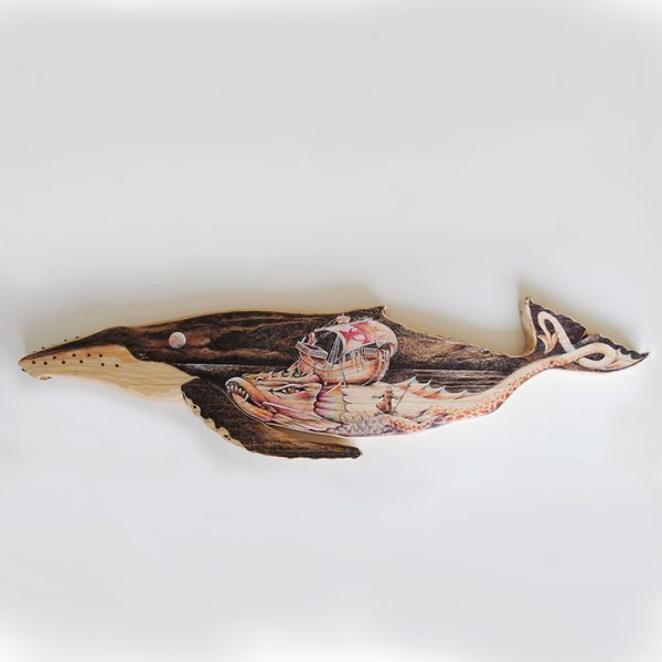 Yubarta de madera pintada a mano