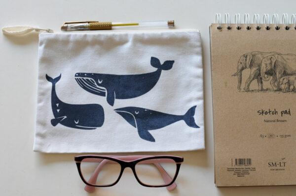 neceser artesal trio de ballenas